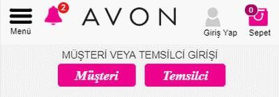 Avon Müşteri ve Temsilci Giriş Görüntüsü